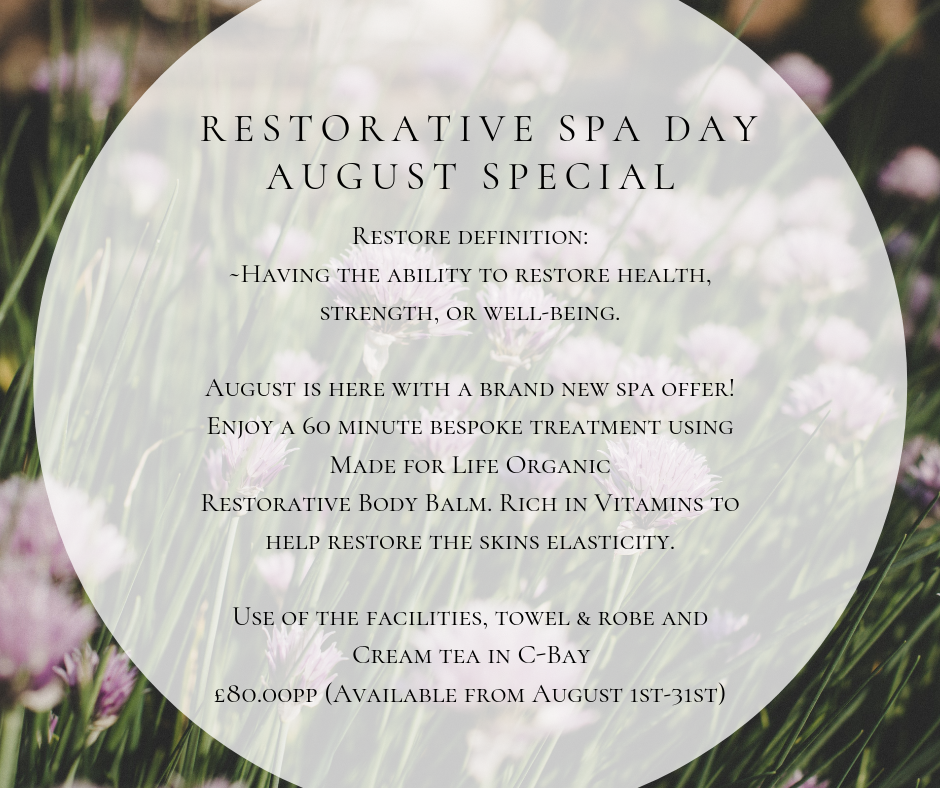 Restorative spa day August Special 002 - August Offer